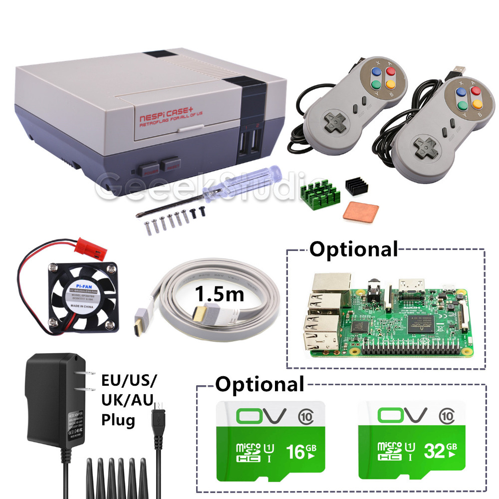 Nouveau NESPi Cas + Plus Kit avec 2 Pcs SNES USB Filaire Contrôleurs + En Option 16G/32G Micro SD Carte + En Option Framboise Pi 3 Conseil