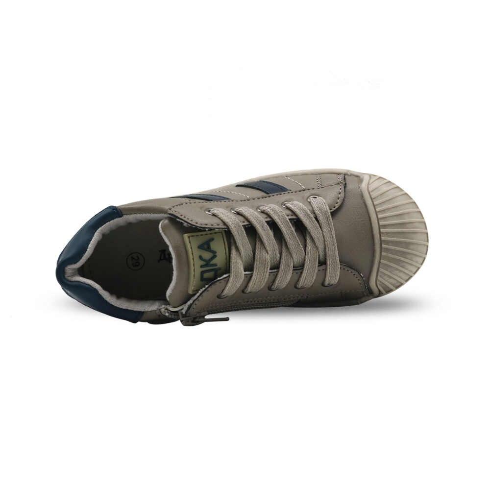 Apakowa ماركة شريط حذاء طفل الاطفال أزياء الأولاد الكلاسيكية رأس قذيفة القذرة الوحيد الاحذية مع الجانب سستة eur 27-32