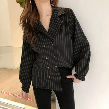 Office Lady Double Buttons Striped Blouse Long Sleeve Shirt Women Top Chemise Femme Chemisier Blusa Mujer Camisa Chemisier