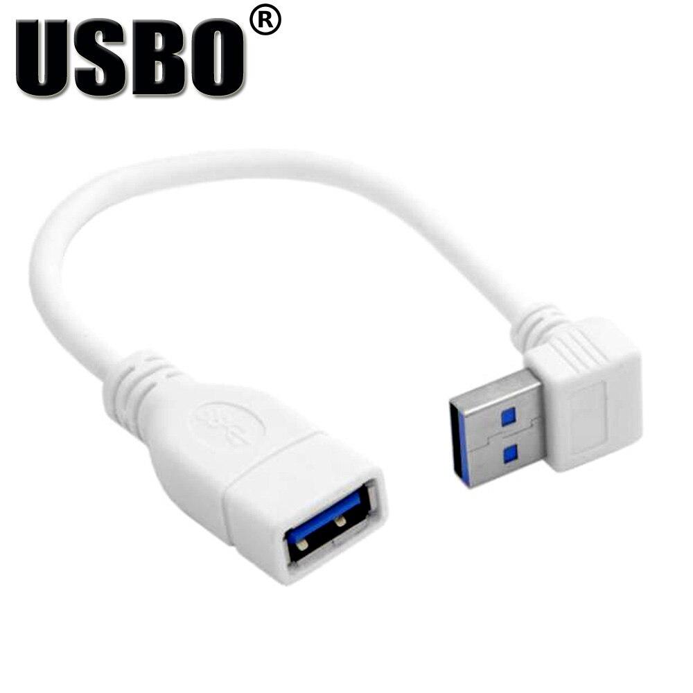 Оптовая продажа локоть 90 градусов белый 0,2 м USB 3,0 A-A мужчин и женщин данных удлинитель Стандартный USB3.0 линии