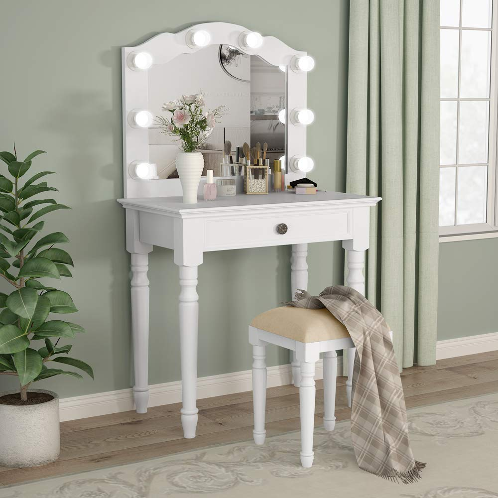 White Vanity Table Set With Led Vanity Mirror Makeup