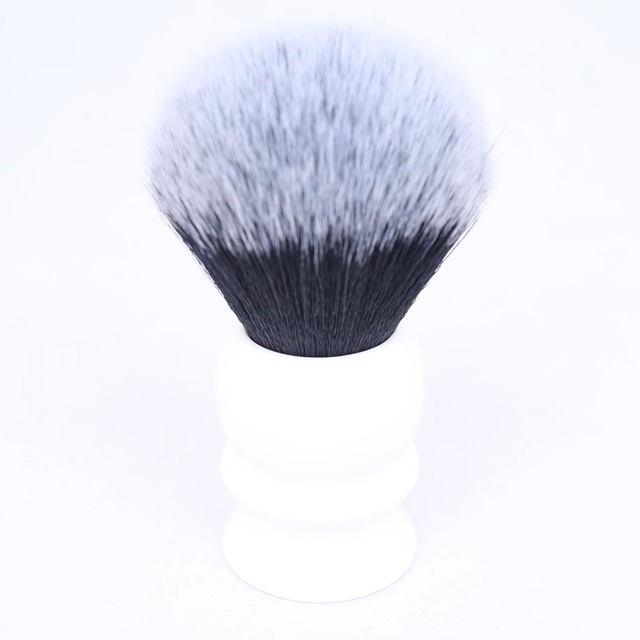 30mm Large Size Knot White Resin Handle Synthetic Hair Tuxedo Knot Men Shaving Brush 1