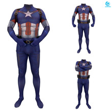 3D printing Captain America Cosplay Costume 3D Printing Spandex Lycra Zentai Bodysuit Suit Jumpsuits  holloween costumes цена