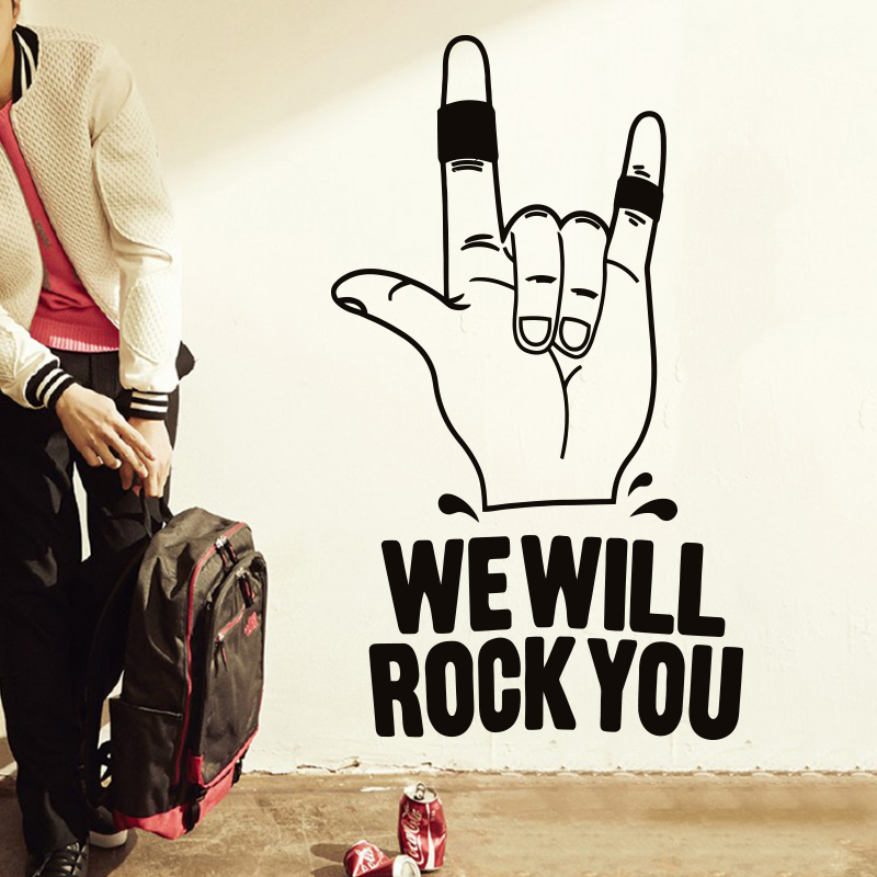 Art design home decoration cheap vinyl we will rock you wall sticker removable house dec ...