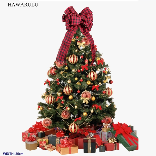 HAWARULU 1pcs 25cm*47cm Christmas decoration supplies tartan bow tree top  decoration bow red scene - HAWARULU 1pcs 25cm*47cm Christmas Decoration Supplies Tartan Bow