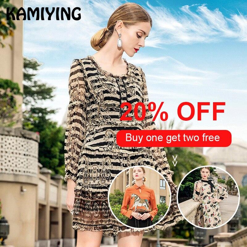 KAMIYING/Новинка весны 2019 года; стильное модное кружевное платье в викторианском стиле в стиле ретро; шелковое платье в полоску