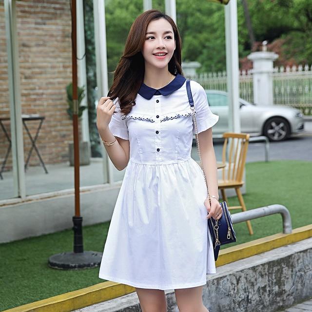 2018 New Summer Preppy Style Women dress Short Sleeve Patchwork Less In  Long Dresses White Navy 8675 c90fccad11e9