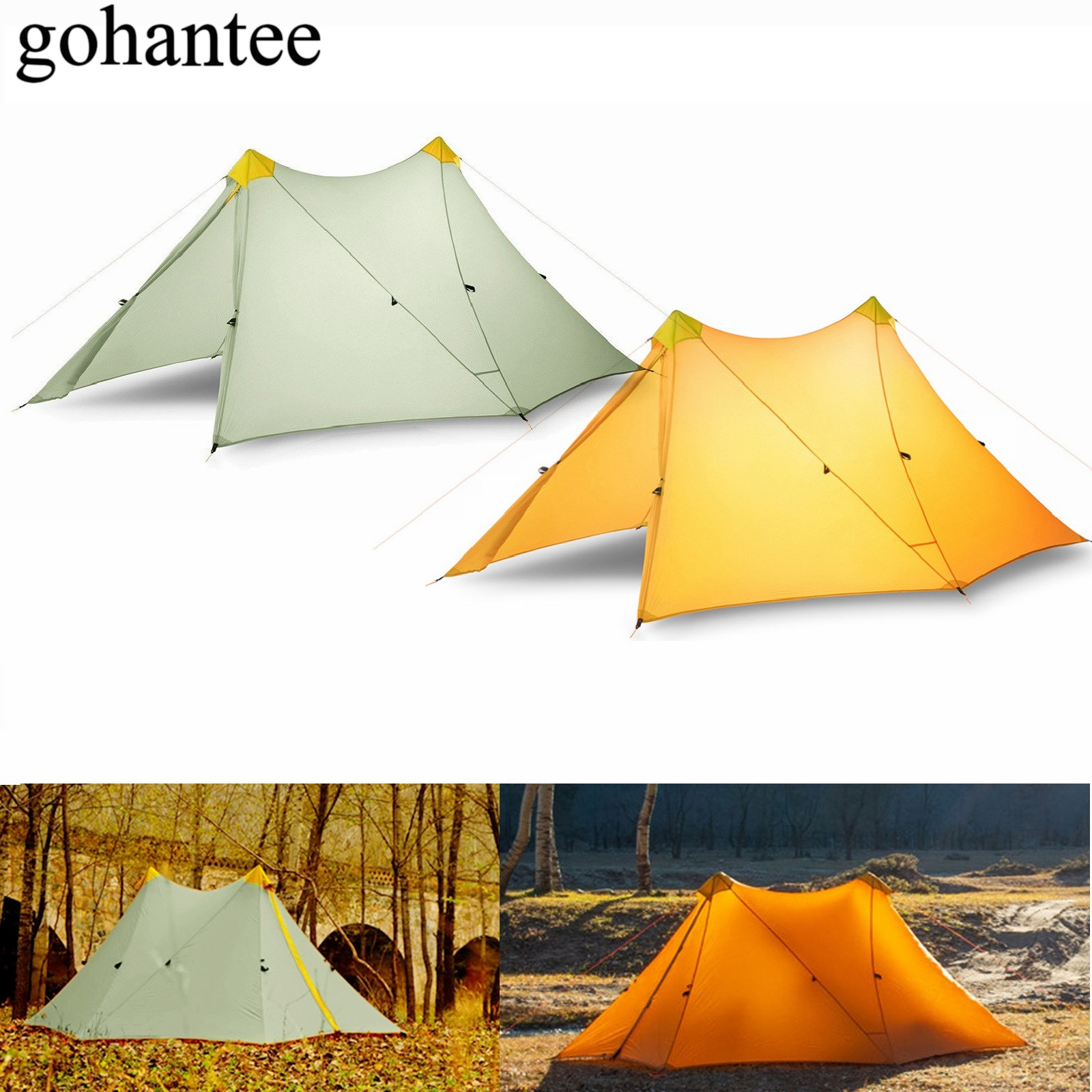 570G UL Ultraleicht Camping Zelt 1-2 Person Outdoor 20D Nylon Sowohl Seiten Silicon Beschichtung Kolbenstangenlosen Doppel Turm große Zelt 4 Saison