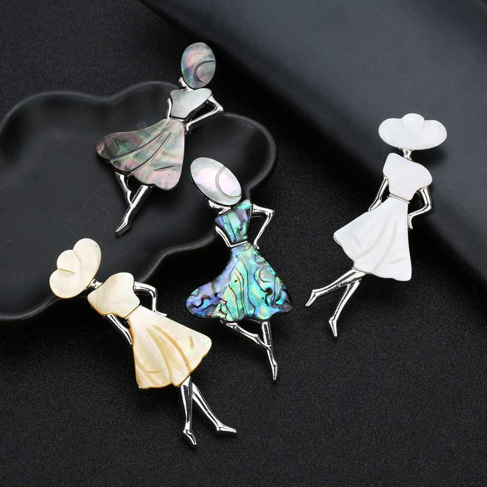 Lacoogh Wholesale 2019 New 85X30mm Girl Shape Shell Brooches for Women Shell Pendant Charms Brooch Pin DIY Jewelry broches