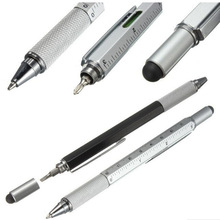 2018 New 6 in 1 multifunction Tool Ballpoint Pen Screwdriver Ruler Spirit Level With A Top And Scale 2017 New Arrival Metal Pen