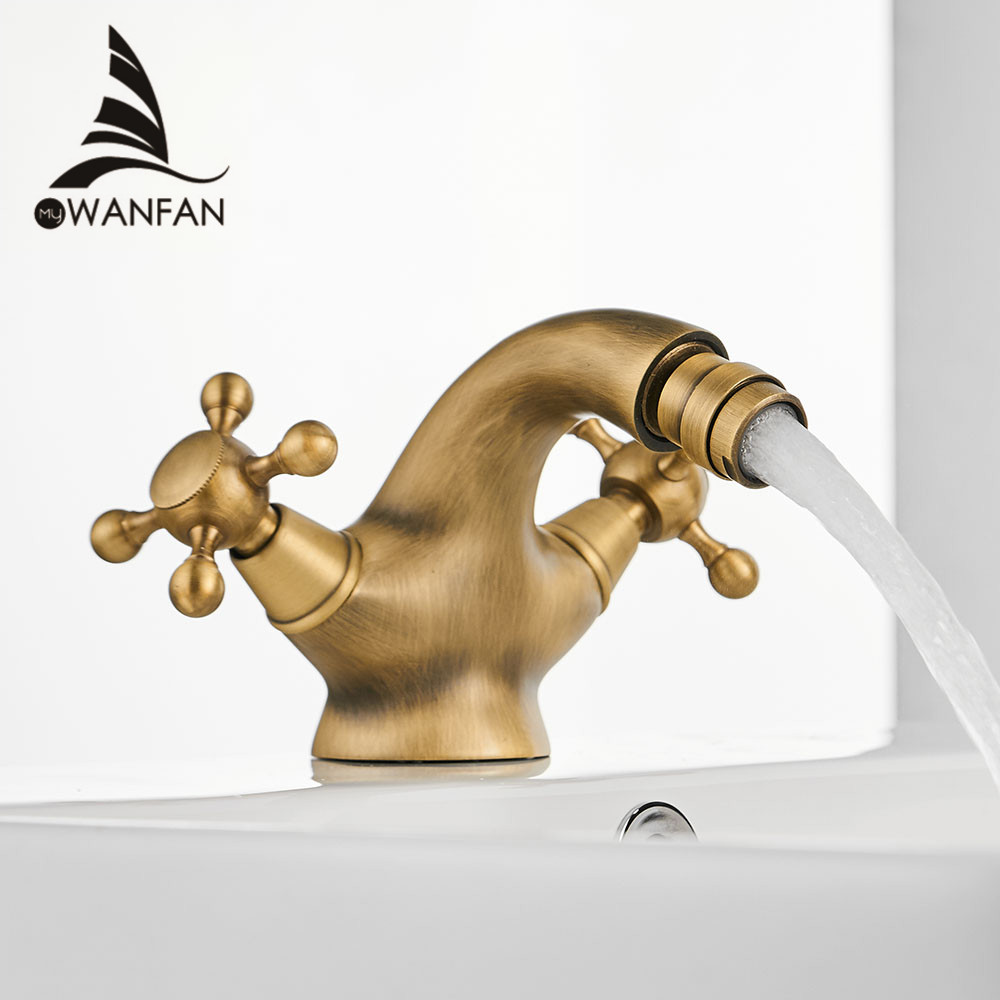 Antique Bidet Faucet Two Ceramic Swivel Handles Water Bathroom Sink Brass Single Hole Deck Mounted Water