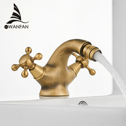 Antique Bidet Faucet Two Ceramic Swivel Handles Water Bathroom Sink Brass Single Hole Deck Mounted Water Mixer Tap 7313
