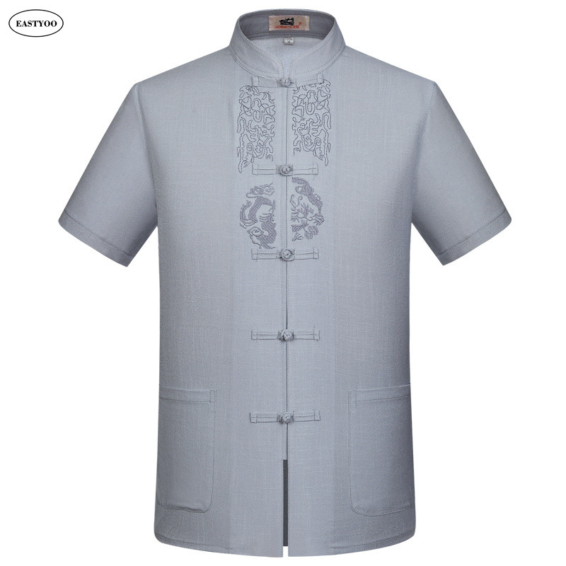 Chinese Shirts Men Mandarin Collar Dress Shirt Plus Size 3XL Chinese Tops Beige Dragon Shirts Kung