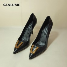 SANLUME Women Sexy Genuine leather High heels Basic Model Pumps Lady Pointed Toe Crystal Wedding shoes inside sheepskin hot sale high quality pointed toe thin high heels women shoes genuine leather upper and inside lady sexy pumps sheepskin shoes