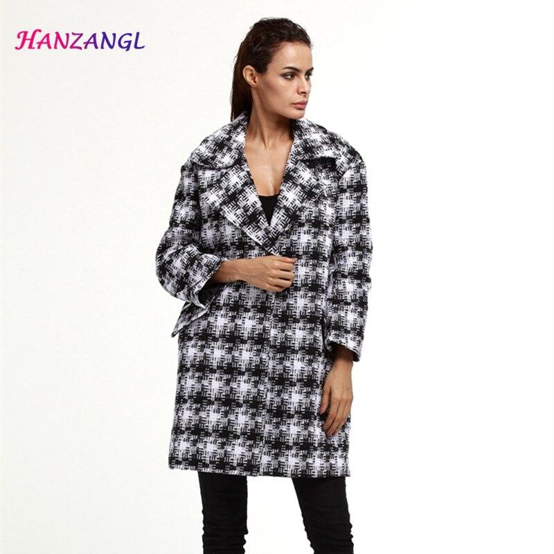 Autumn Winter Coat 2017 Women Warm Cotton-padded Wool Coat Long Women's Woolen Overcoat Fashion Plaid Breasted Jacket Outwear