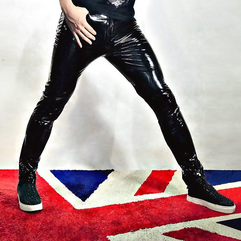 Hommes Skinny cuir moto pantalon homme mode Hip Hop Rock Punk Slim Fit Pu cuir pantalon scène vêtements peut Becustom