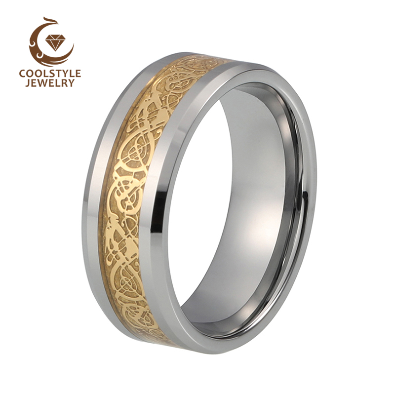 8mm Mens Women Gold Celtic Dragon Inlay Tungsten Carbide Ring Mens Jewelry Wedding Band Size 5 to 15
