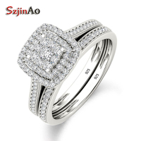 Szjinao Luxury Brand 925 Sterling Silver Bridal Set Ring for Women with Paved Micro Lab Diamond Platinum Color Wedding Jewelry