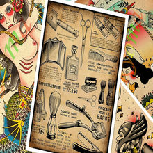 Creative Tattoos Pattern Manuscript Vintage Kraft Paper Poster Wall Stickers Painting Body Art Tattoo Barber Shop Decoration C(China)