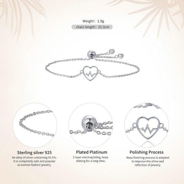 WOSTU Top Sale Luxury Brand 100% 925 Sterling Silver Heartbeat Bracelet For Women Fine Jewelry Gift CQB019