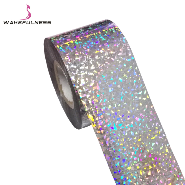 120M*4CM Starry Sky Holographic Nail Transfer Foils Rainbow Laser Silver Cat's Eye Nail Art Stickers Decals Manicure Decorations 1