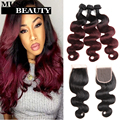 Best 10A Qeen Brazilian Body Wave Ombre Human Hair With Closure 4 Bundles 1B Burgundy Brazilian Hair Weave Bundles With Closure