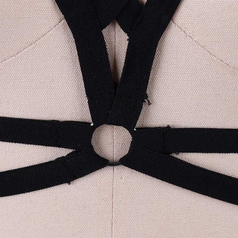 Черный бюстгальтер Для женщин фетиш одежда бондаж эротические портупея, Дамское Белье, готика, укороченный топ-боди подвязки из полиэстера S040