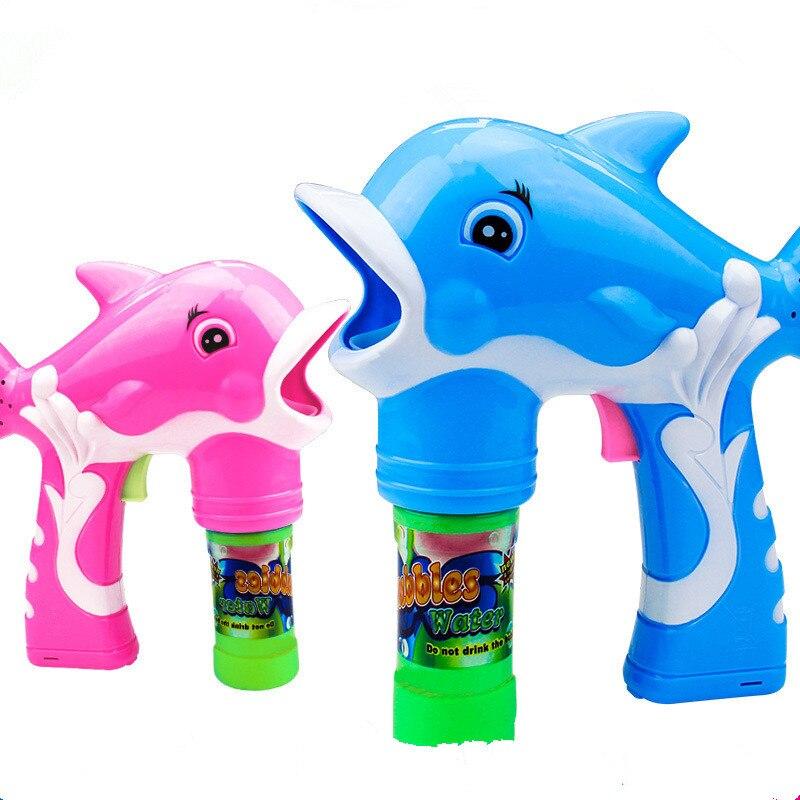 2017 New Electric Dolphin Bubble Gun Music Light Blowing Bubbles+Bubble Water Gun Belt Sword Set Children Kids Outdoor Toys Hot