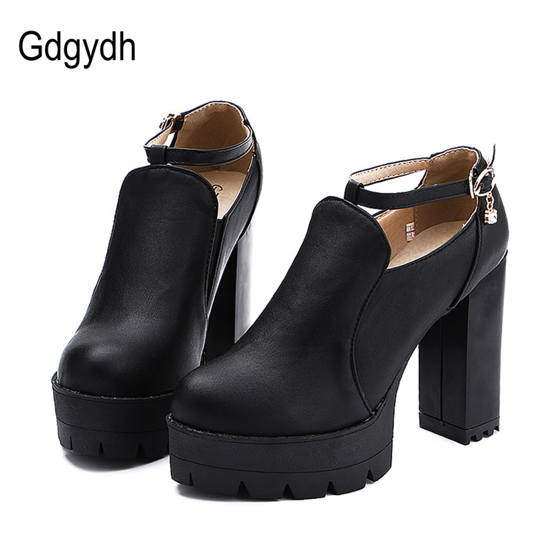 Gdgydh Black Autumn Women Shoes Round Toe Platform Thick Heels Pumps Rhinestone T-Strap Buckle Female Shoes Heels Drop Shipping
