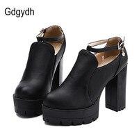 Vender Gdgydh, zapatos de mujer negros de otoño, tacón alto, plataforma de tallas grandes, tacones gruesos, zapatos de tacón, hebilla de tirante en T de diamantes de imitación, caída de zapatos de mujer, envío