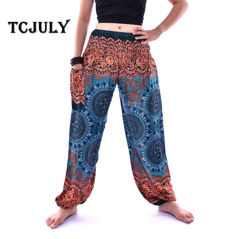 TCJULY Thailand Design Indian Compass Printed Smooth Rayon Silk Harem Pants With Inside Pockets High Waist Loose Casual Bloomers