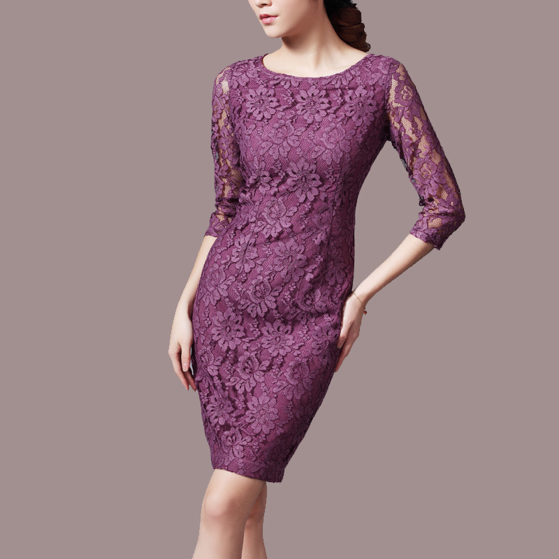 Women Ol Summer Plus Size O neck Half Sleeve Slim Lace Splice Long Silk Dresses Spring Hedging Silk Dress