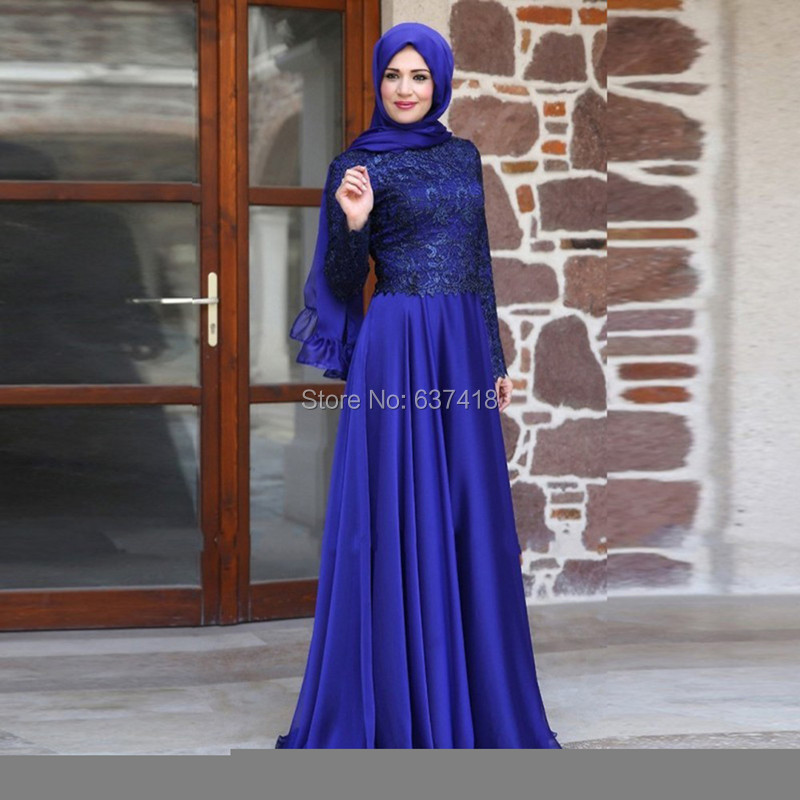 Elegant Royal Blue Long Sleeve Muslim Evening Dress with Lace ...