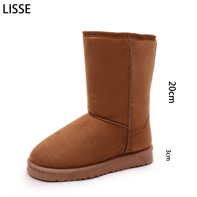 LISSE Sheepskin Suede Winter Snow Boots For Women Sheepskin Leather Lined Winter Wool Sheepskin Shoes High Quality Black 36-40