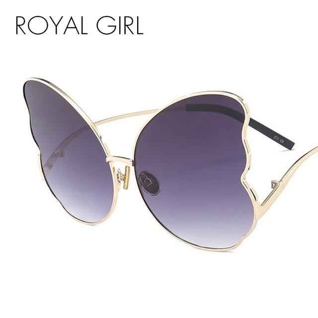 6d0c64818 الملكي فتاة فراشة كبيرة إطار النظارات الشمسية النساء 2018 العلامة التجارية  مصمم القط العين الأحمر البني