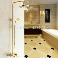 Modern New Designed Luxury Bathroom Ceramic Style 8 Golden Brass Finished Rain Shower Faucet Mixer Tap