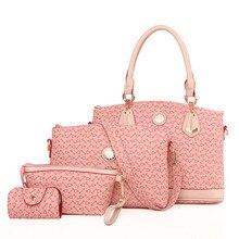 4 Set Handbag Women Handbag Set Bone Arrow Tote Bag kors Handbag Clutch Embossed Colorful Pink Lady Bags Online N221