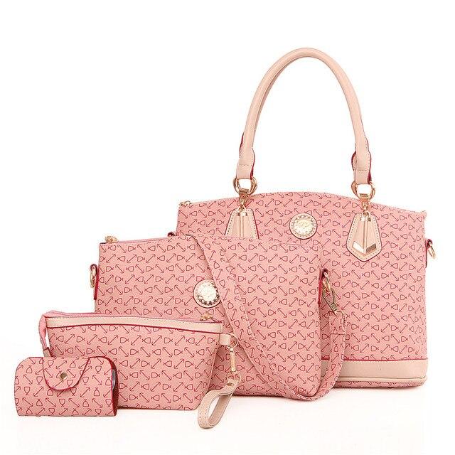 9f7ddc83a43a34 ... Michael Kors Bags Ireland 4 Set Handbag Women Handbag Set Bone Arrow  Tote Bag kors Handbag Clutch Embossed Colorful Pink ...