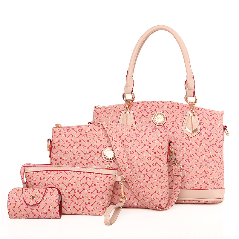 michael kor purses outlet mhiu  4 Set Handbag Women Handbag Set Bone Arrow Tote Bag kors Handbag Clutch  Embossed Colorful Pink