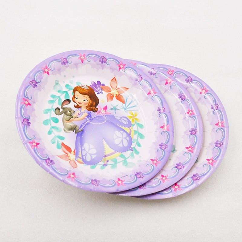 6pcs/bag Disney Sofia Princes Plates Party Supplies Cartoon Theme Party For Kids Happy Birthday Decoration Theme Party Supplies