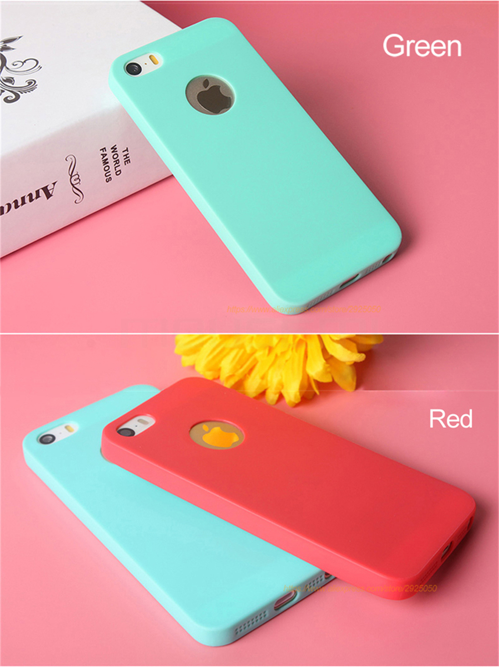 MOUSEMI Phone Cases Silicone 5S se For iPhone Case Candy For iPhone 5s se 5 Case Cute Silicone Pink Soft Luxury Matte Coque 5s 5 (11)