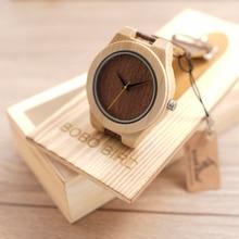 BOBO de AVES E13 Vida Resistente al Agua Reloj de pulsera de Madera Diseñador de la Marca Para Hombre Reloj de Cuarzo con Correa de Cuero horloges mannen
