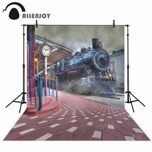 Image 2 - Allenjoy darmowa wysyłka tła dla fotografii studio stary pociąg stacja miasto dym tło profesjonalny photocall