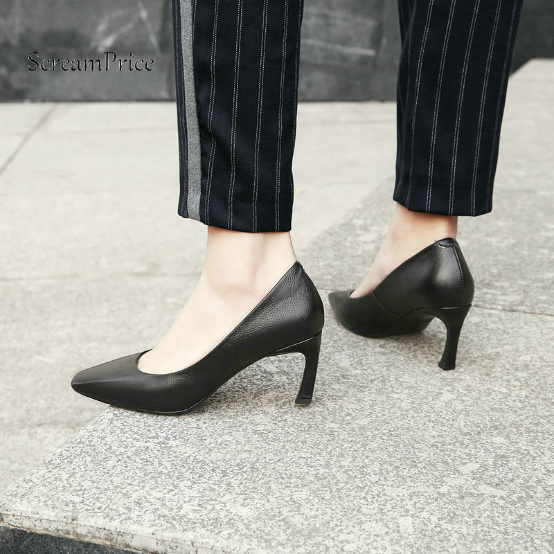 The New Hoof High Heel Woman Genuine Leather Lazy High Heel Shoes Fashion Square Toe Dress Pumps Woman Black Pink newest solid flock high heel pumps woman