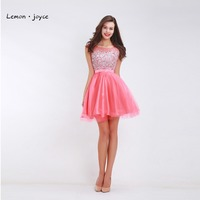 Pink Homecoming Dresses For Teen Girls Scoop Neck Sleeveless Fit And Flare A Line Short Prom