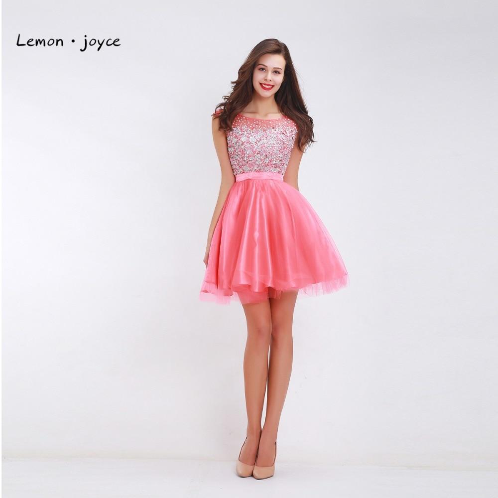 Pink Homecoming Dresses Teen Girls Scoop Neck