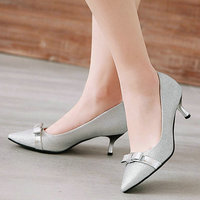 Bling Wedding Kitten Heels Fashion Bow Pointed Toe Women Pumps Bride Dress Ladies Shoes Black Gold Silver