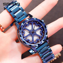 SANDA Rotate Dial Watch Women Top Luxury Crystal Ladies Watches 30M Waterproof JAPAN 2035 Movement Dress Clock relogio feminino