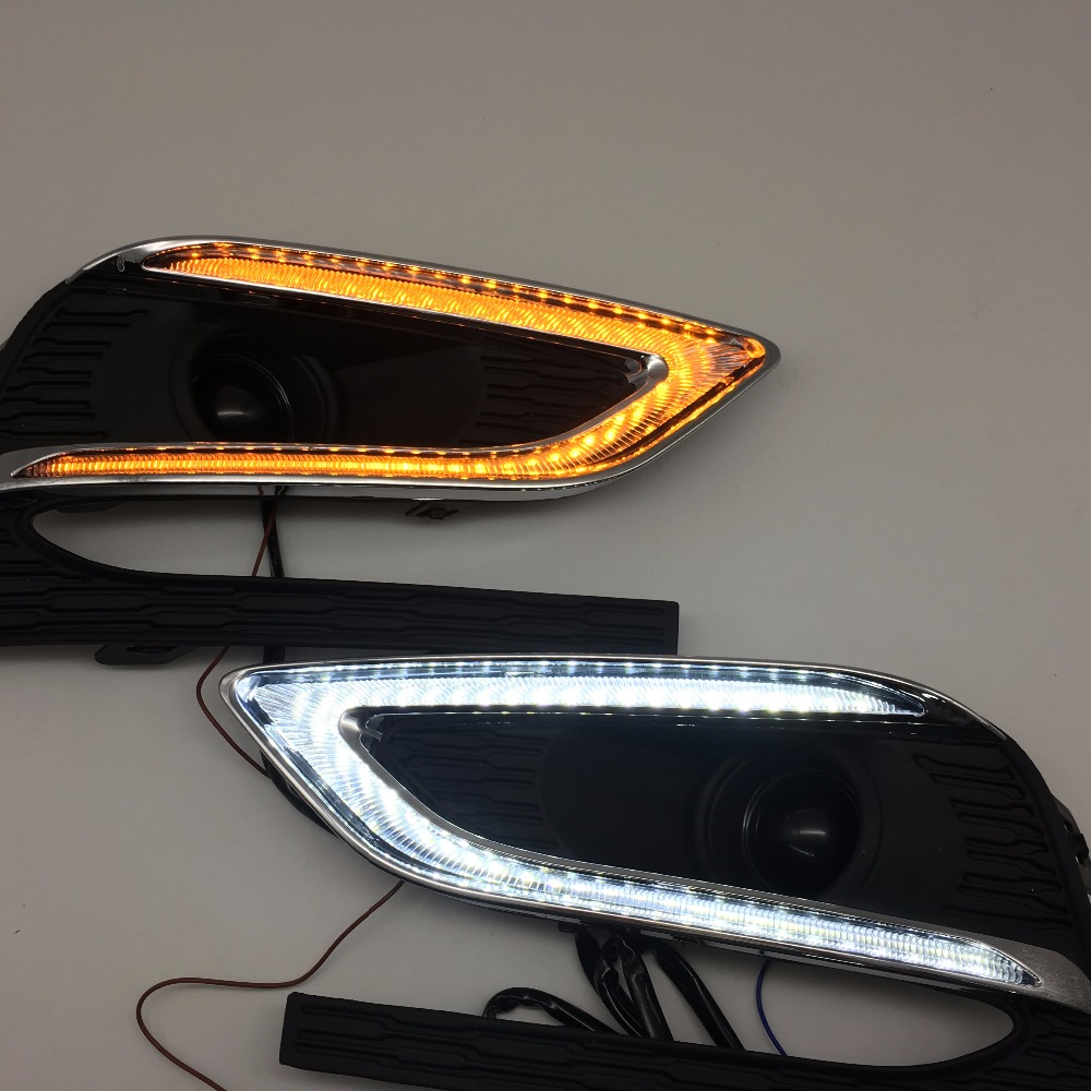 Turn Signal style Relay 12V car LED DRL Daytime Running Lights with fog lamp hole for Chevrolet Cruze 2016 2017 2018 okeen 2pcs high quality led drl for ford raptor f150 2010 2011 2012 2013 2014 daytime running lights with turn signal lamp 12v
