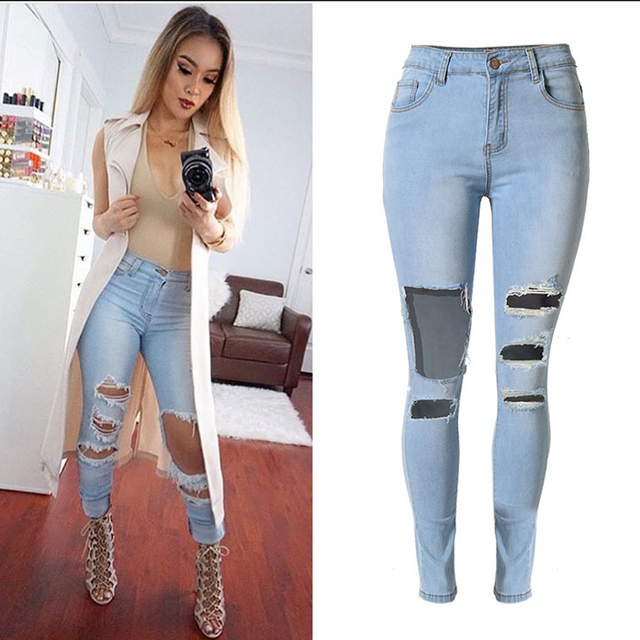 fc1150c9a00 Sherhure 2018 High Waist Stretch Big Hole Women Jeans Ripped Jeans For Women  jeans Skinny Jeans For Women Pants Femme
